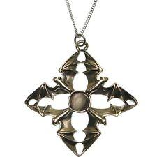 Arcanus Pewter Bat Quartet Moon Pendant Necklace Carpe Noctum Anne Stokes CA05