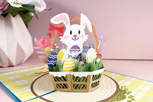 3D Pop up Easter Basket Eggs Bunny Flowers Spring Greeting Cards Postcard Gift