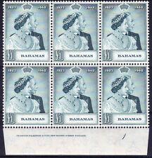 BAHAMAS 1948 £1 RSW IMPRINT BLOCK SG 195 MINT.