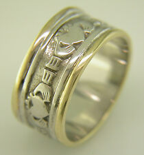 Gents 14k Gold Irish Handcrafted Claddagh Anniversary Wedding Anniversary Ring