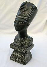 "Egyptian Basalt Stone Black Queen Nefertiti X-Large Statue 9.5""  Hieroglyphic"