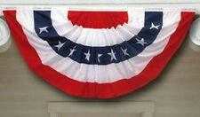 3x6 ft American Patriotic FULL PLEATED FAN BUNTING w/ STARS Polycotton USA Made