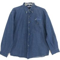 Denim Shirt SWIFT Embroidered Mens Size XL Blue Long Sleeve Button Front