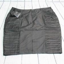 HELIOS & LUNA Sz 14 Black Taffeta Pleat Panel 100% Silk Straight Pencil Skirt