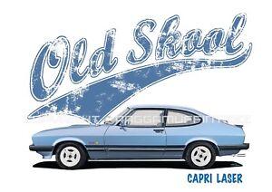 FORD CAPRI LASER t-shirt. OLD SKOOL. CLASSIC CAR. MODIFIED. RETRO.