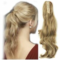 Wavy Claw Jaw Clip On Ponytail Human Hair piece 100% Human Remy Hair Extension