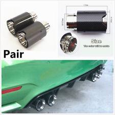 2Pcs Matte Carbon Fiber Car Exhaust End Tip Pipe w/Logo For BMW 3 Series F30 F31