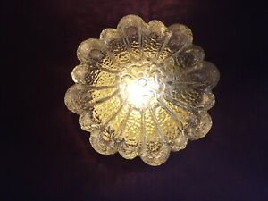 French Vintage Flush Light With Heavy Patterned Glass Flower Shape Shade 2082