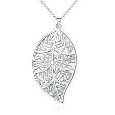 Charm Leaf Leave Retro Sterling Silver 925 Necklace Women Jewelry Holiday Gift