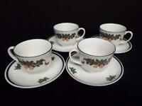 Johnson Bros. Victorian Christmas Cups & Saucers (4) England