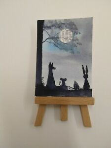 ELW Original, Aceo Cards. Full moon for animal friends.