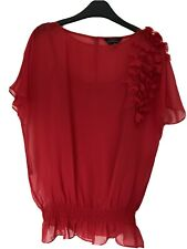 Red Ted baker blouse Top size 2 Hearts Chiffon Cami