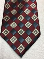JOSEPH AND FEISS MENS TIE BURGUNDY GRAY BLACK SILVER 4 X 59 NWOT