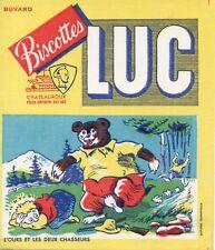 BUVARD PUBLICITAIRE / BISCOTTES LUC / CHATEAUROUX / L'OURS ET LES DEUX CHASSEURS