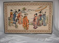 Vintage Japanese Geishas Embroidered Needle Craft Linen Wall Hanging Framed NICE
