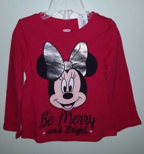 Old Navy Girls 12-18 18-24 MONTH Long Sleeve Shirt MINNIE MOUSE Disney CHRISTMAS