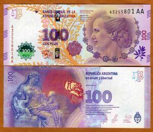 Argentina, 100 Pesos, ND (2016), P-358c AA-Suffix, UNC > Commemorative, Evita
