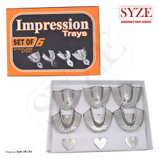 SYZE New Denture Perforated Stainless Steel Ortho Impression Trays Set of 6Pcs
