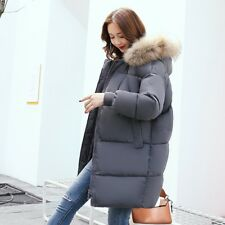 Winter Womens Padded Coat Faux Fur Hooded Long Overcoat Puffer Jacket Fashion