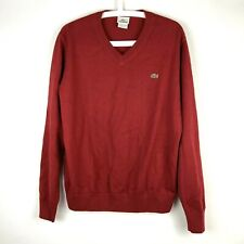 Lacoste Mens Size 5 Dark Red V Neck Pull Over Sweater Long Sleeve 100% Cotton