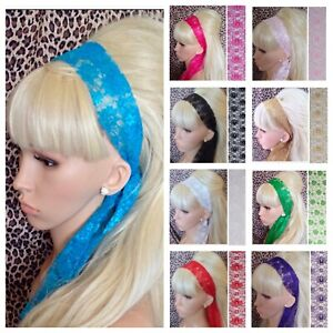 New FLORAL LACE FABRIC SELF TIE BOW HAIR SCARF HEAD BAND RETRO 60s 80s HEADBAND
