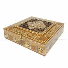 Large Square Handmade Engraved Syrian Inlaid Mosaic Wooden Trinket Box 30x30x7cm