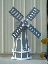"46"" Octagon Poly Dutch Windmill  (Gray with White Trim)"