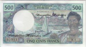 New Hebrides P19 500 Francs (1979-80) sig comb. not in pick,  alpha N.1, UNC