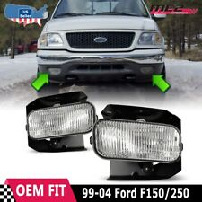 Fit 99-04 Ford F-150 OE Fitment Replacement Fog Lights DOT Clear Lens Set Pair