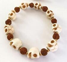 Howlite Skulls Rudraksha 8 mm mala lucky bracelet beads men pray buddhist yoga