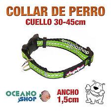 COLLAR PERRO VERDE TEJIDO REFLECTANTE AJUSTABLE DE CALIDAD CUELLO 30-45 L81 3365