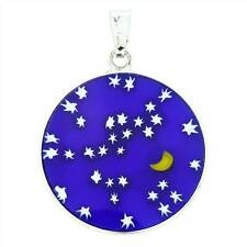 "GlassOfVenice Murano Glass Millefiori Pendant ""Starry Night"" in Silver Frame 7/8"