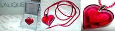 "VALENTINE PENDANT Lalique  Ruby Red  Heart Pendant 18 "" SILVER CHAIN OUTSTANDING"