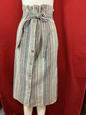 BNWT VIOLA BORGHI Women's 90% Cotton Multi Colour Striped Midi Skirt. Size S