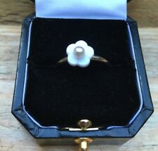 Striking Silver Tone Flower Ring/Faux Pearl/Solitaire Design/Modern/Dainty