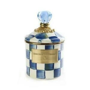 """MacKenzie-Childs Royal Check Canister - Demi 4"""" dia., 3.75"""" tall (6.75"""" tall)NEW"""