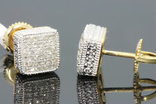 .28 CARAT YELLOW GOLD FINISH MENS WOMENS 8 mm 100% REAL DIAMONDS EARRINGS STUDS