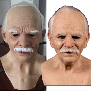 Ugly Old Man Headgear Realistic Silicone Masquerade Full Helmet Tricky Props