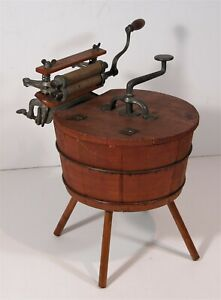 ca1900 SALESMANS SAMPLE WASHING MACHINE AND WRINGER - WOOD WASH TUB ON LEGS