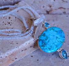 Turquoise,Topaz, Quartz & Moonstone Beads 925 Solid Sterling Silver Necklace