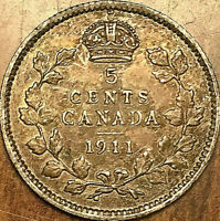 1911 CANADA SILVER 5 CENTS COIN - Excellent dark toned example!