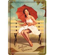 BLECHSCHILD 10258 - PIN UP GIRL - INDIAN SUMMER - 10 x 14 cm - NEU