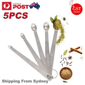 5pcs Stainless Steel Mini Measuring Seasoning Dry and Liquid Ingredients Spoon