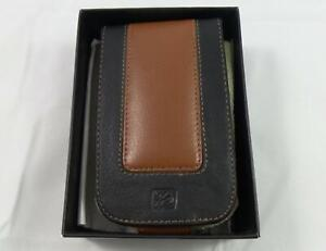 Vtg Pacific Design Leather Flip Case for Dell Axim X50/X51 Black/Brown (PD0370)