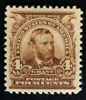 US Stamps, Scott #303 4c US Grant 1903 VF/XF M/NH 2006 PF Certificate. Fresh.