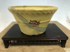 Yellow Glazed Shohin Size Tokoname Bonsai Tree Pot Made By Hattori 4 5/8�
