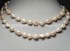 PRETTY 10-12MM PINK REAL BAROQUE CULTURED PEARL NECKLACE 30 INCHES 18K CLASP