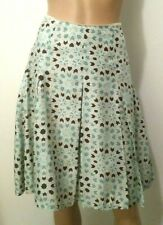 BANANA REPUBLIC Skirt Pleated Lined Sz 0 Multicolor Paisley forming circles Silk