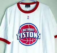 Men's XL Vintage 00s Detroit Pistons NBA Basketball Red Ringer T-shirt F6