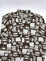 Men's Old Navy Hawiian Palm Trees Surf Brown Button Down Shirt Size 2XL